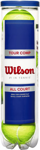 Wilson Tour Comp All Court Tennis Balls - tube of 4 balls