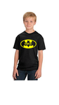 Personalised Batman Hero logo T Shirt junior youths Black
