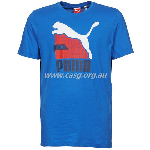 puma mens fun cat graphic tee strong blue sizes s,m,l