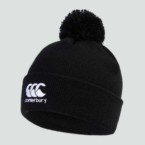 Canterbury rugby black bobble hat. Adults-one size