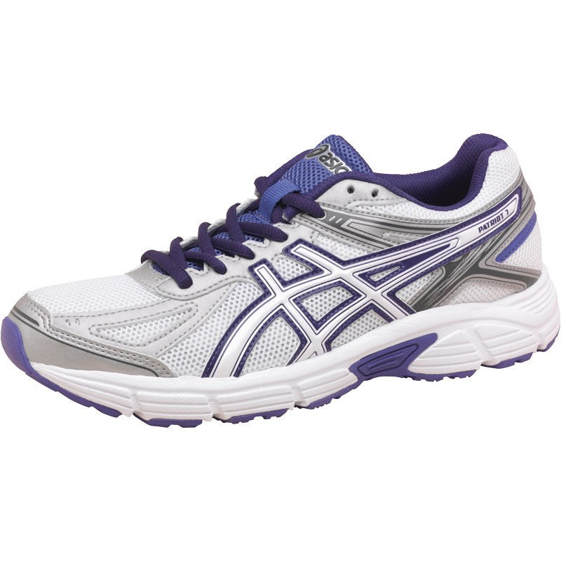 a65029e99b1 Asics Patriot 7 Ladies running trainers - white silver purple – David O  Jones Online Sports