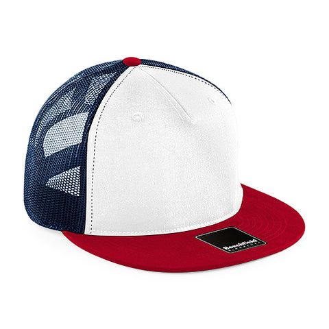 Beechfield signature white red black mesh snapback