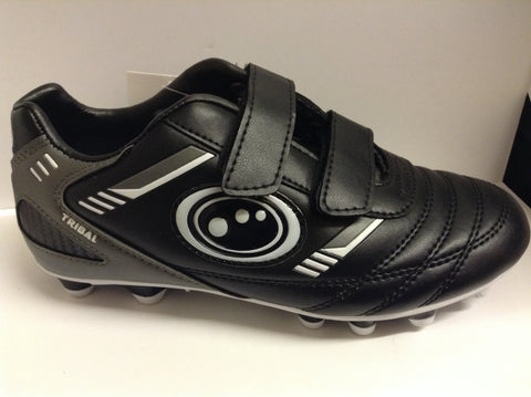Optimum Tribal junior football boots - Velcro, moulded studs - black/grey