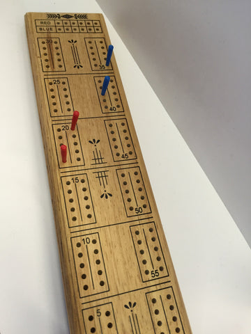 Wooden Cribbage Board set with pegs great gift