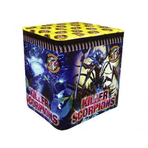 Single Ignition Multi Shot KILLER SCORPIONS Fireworks- 25 shots in 25 seconds