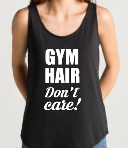 Gym Vest 'GYM HAIR' Design, black loose fit top