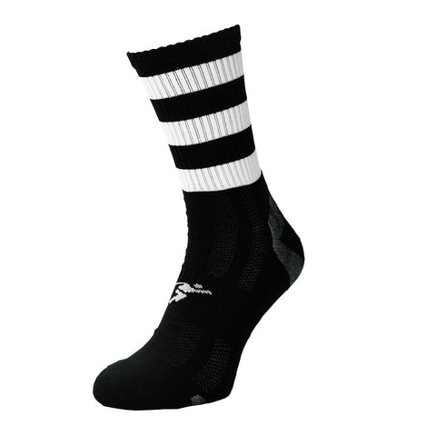 Precision Mid Length GAA Football Rugby Netball Training Socks black White.
