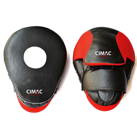 "Cimac Boxing Curved Focus Mitts 10"" Black/Red"