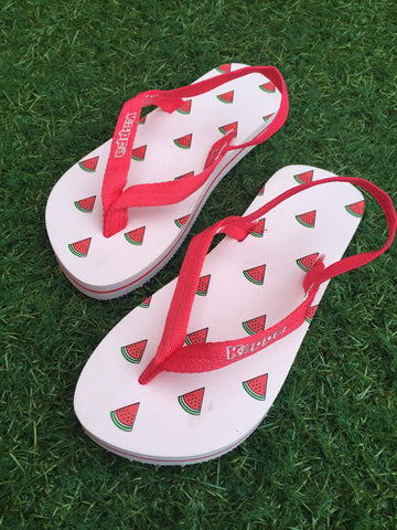 Kappa Girls infant junior Watermelon design flip flops with ankle strap.
