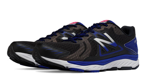 New Balance mens stability trainers M670 black and blue
