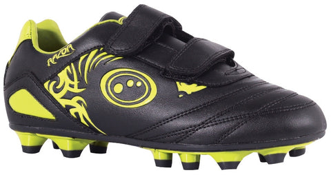 Optimum Junior Razor Rugby /Football boots moulded studs Velcro Fastening. black yellow