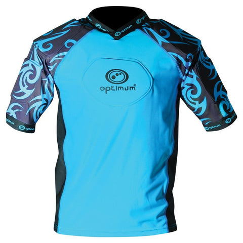 Optimum Razor protective Rugby padded top Cyan/black JUNIOR Sizes