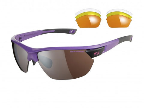 Sunwise Kennington Purple Black and White Interchangable lens Sunglasses
