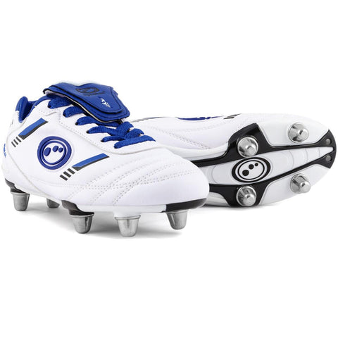 Optimum junior rugby boot tribal white blue or black red