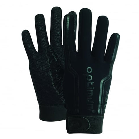 Optimum Velocity full finger thermal sports rugby football warm Grip gloves Black junior and adult