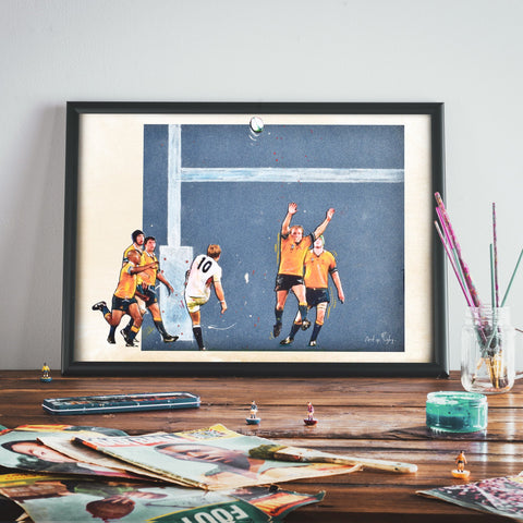 Art of Rugby -ENGLAND- The drop kick- A4 Print - Great Gift!