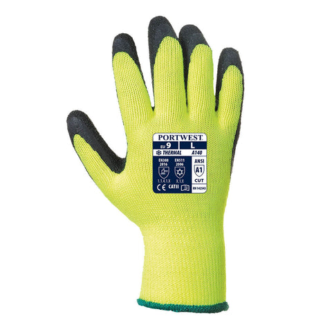 Portwest Workwear A140 - Thermal Grip Glove - Latex - Yellow L