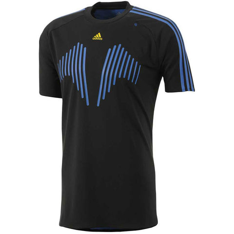 Adidas lightweight running football fitness formotion T Shirt tee Black blue