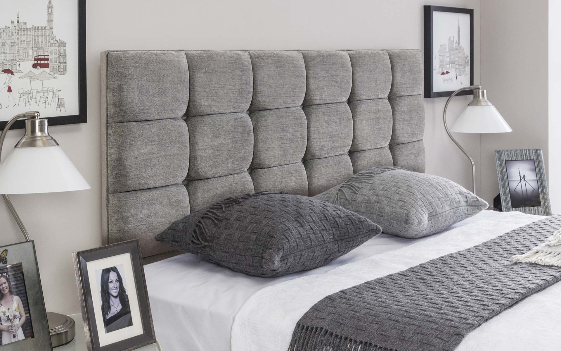 Roma upholstered headboard 4ft6 double in muse mist