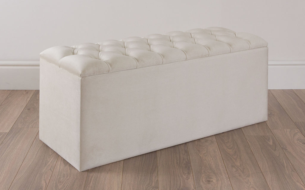 Quilted Upholstered Wide Storage Ottoman