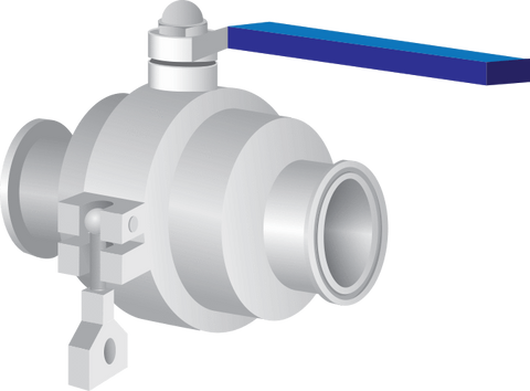 304 Stainless Steel Sanitary Ball Valve with Clamp Fittings