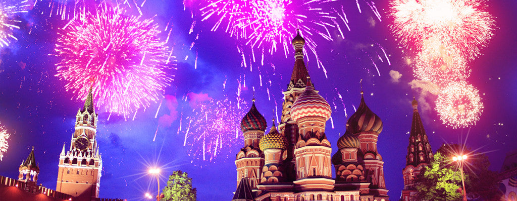 Fireworks at the red place in moscow