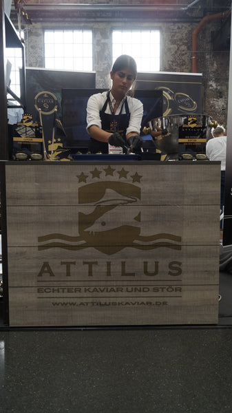 hostess at the booth of Attilus at Chef-Sache 2018