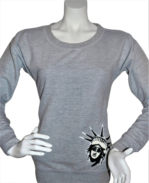 BBNYC Grey Female Scooped Rib Crew Neck Sweatshirt