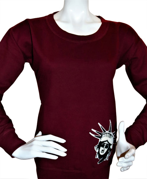 BBNYC Burgundy Female Fashion Scooped Rib Crew Neck