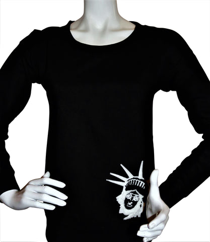 BBNYC Black Female Fashion Scooped Rib Crew Neck Sweatshirt