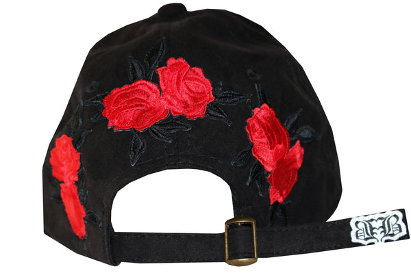 "BBNYC ""Liberté"" Black Suede/Red Roses Custom Dad Hat"