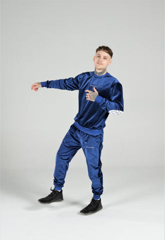 NEW BBNYC INTERNATIONAL MIDNIGHT BLUE VELOUR TRACKSUIT