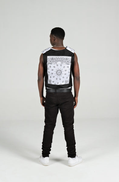 NEW BBNYC WHITE CUSTOM BANDANA VEST