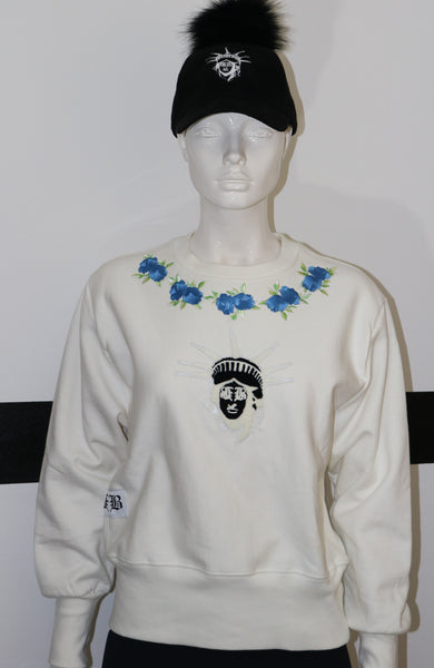 BBNYC Blue Rose Thorn Stylish Crew Neck