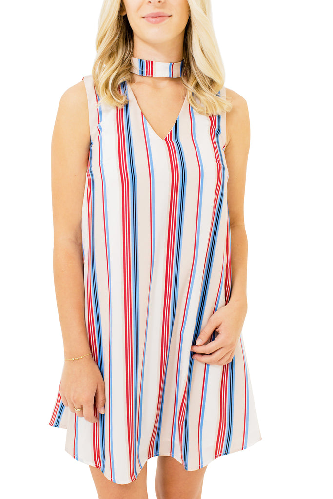 Stripe Neck Band Dress