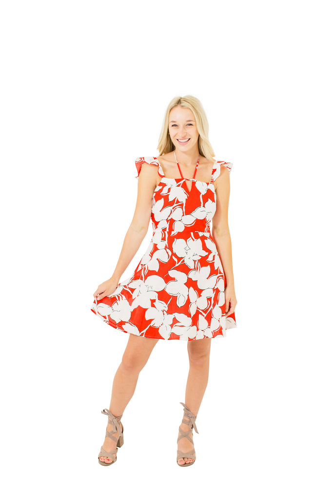 Floral Print Ruffle Shoulder Dress