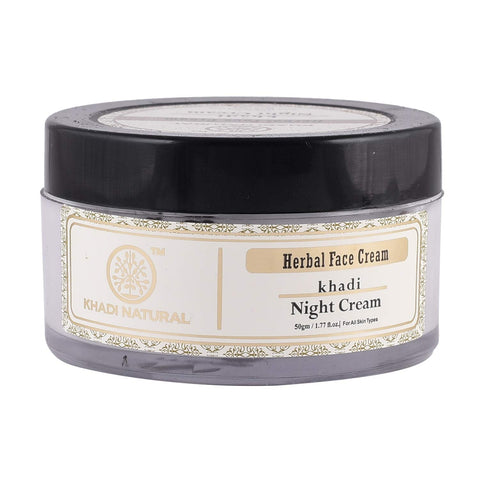 Khadi Herbal Night Cream For Normal & Dry Skin Types With Almond & Olive Oil 50g