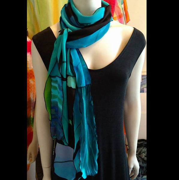 Silk Art Collage Scarf Ocean  Teal Black Mix Large