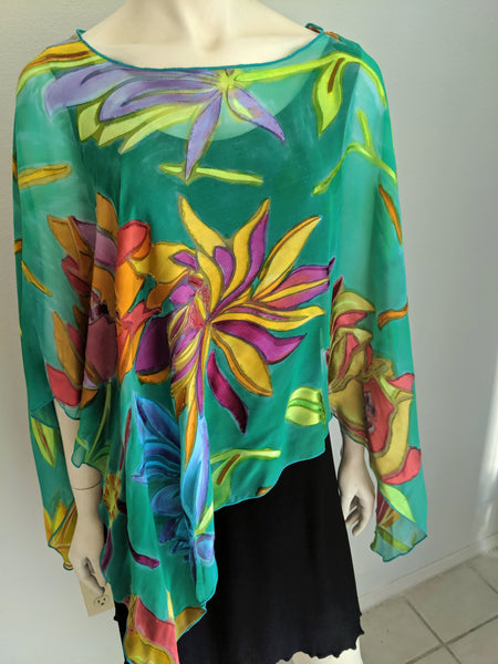Sale Artist Created Silk Devore'  Floral Hand Painted Poncho Top
