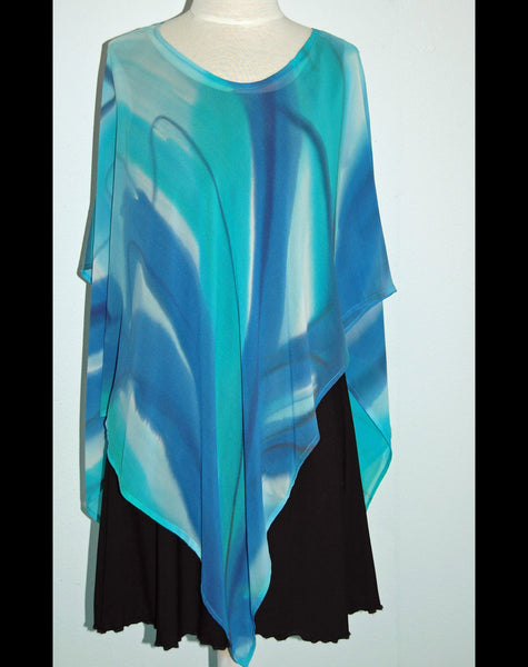 Hand Painted Silk Georgette Poncho Top - Linda Tilson Studio Venice