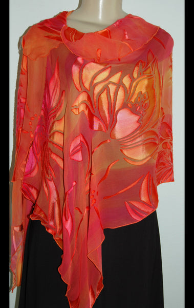 Silk Poncho Drape  with Collar Pink/Orange Floral Devore' - Linda Tilson Studio Venice