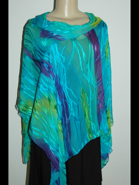 Silk Poncho Top with Collar Turquoise/ Purple - Linda Tilson Studio Venice