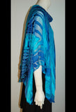 Silk Poncho Top with Collar Blues - Linda Tilson Studio Venice