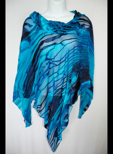 Silk Poncho Top with Collar Deep  Blues - Linda Tilson Studio Venice