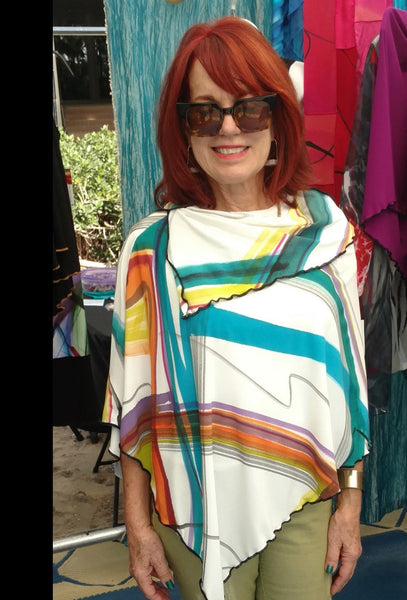 Travel Light Hand Painted Poncho Top - Linda Tilson Studio Venice