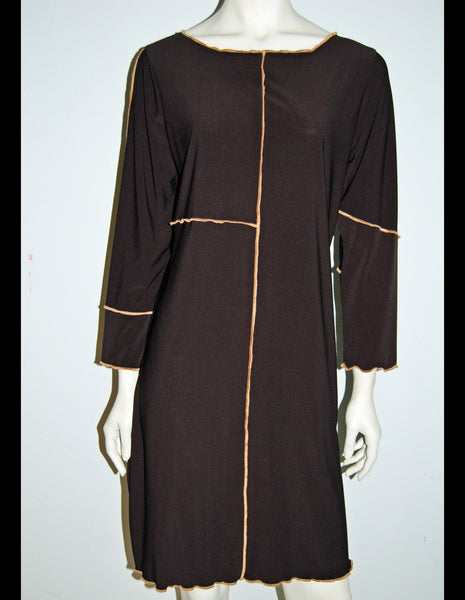 Travel Light Black Dress with Copper Contrast Detail - Linda Tilson Studio Venice
