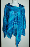 Silk Poncho Top with Collar Blues #2 - Linda Tilson Studio Venice