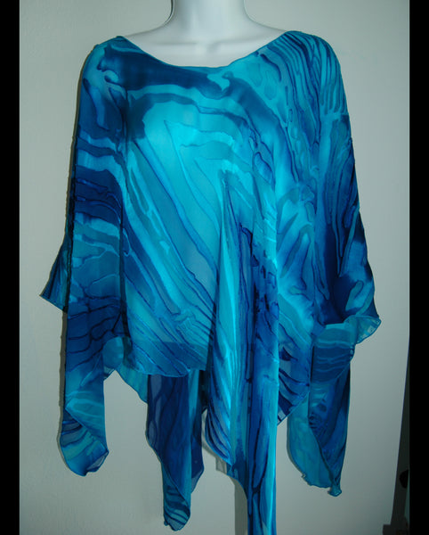 Silk Poncho Top Hand Painted Blues - Linda Tilson Studio Venice