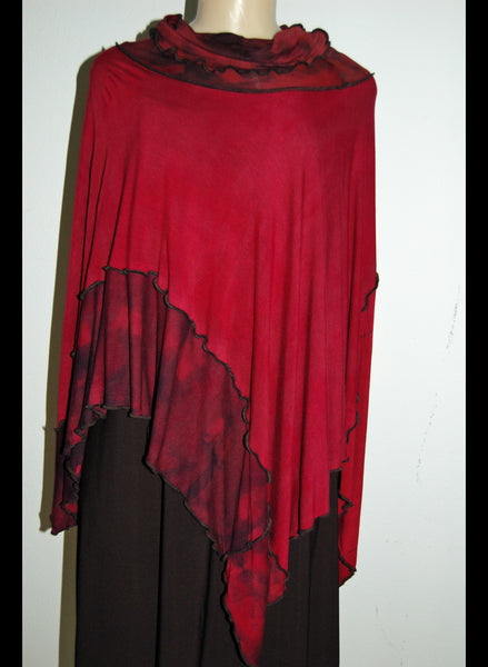 Modal Jersey Shibori Dyed/ dye painted Poncho Top with Collar - Linda Tilson Studio Venice