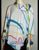 Travel Light Hand- Painted  Poncho Top - Linda Tilson Studio Venice